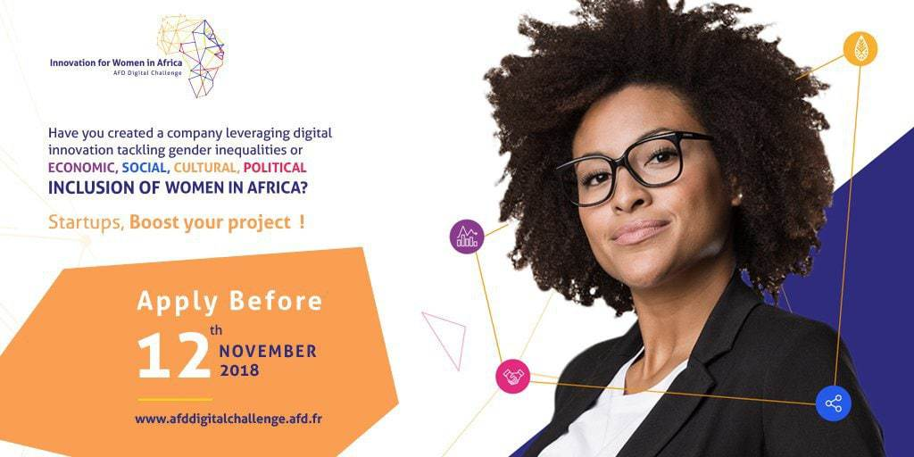 AFD Digital Challenge for Startups Promoting Gender Equality 2018 (€85,000 prize)