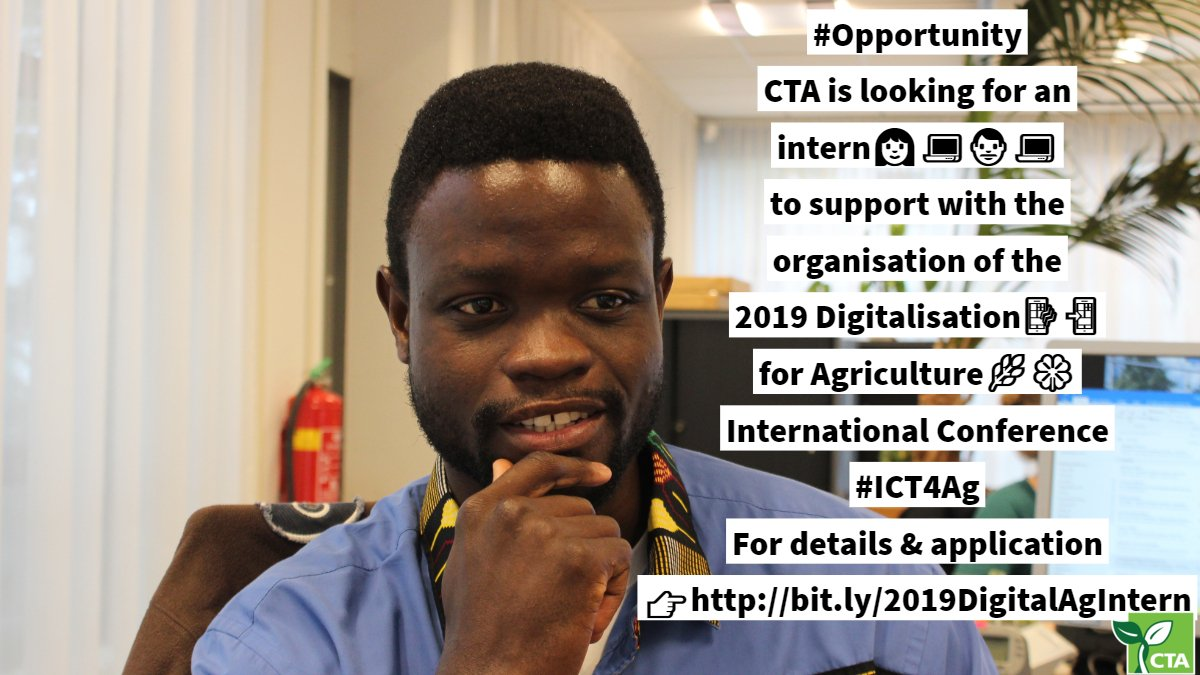 CTA Internship to organize the 2019 Digitalisation for Agriculture (D4Ag) International Conference (Fully-funded)