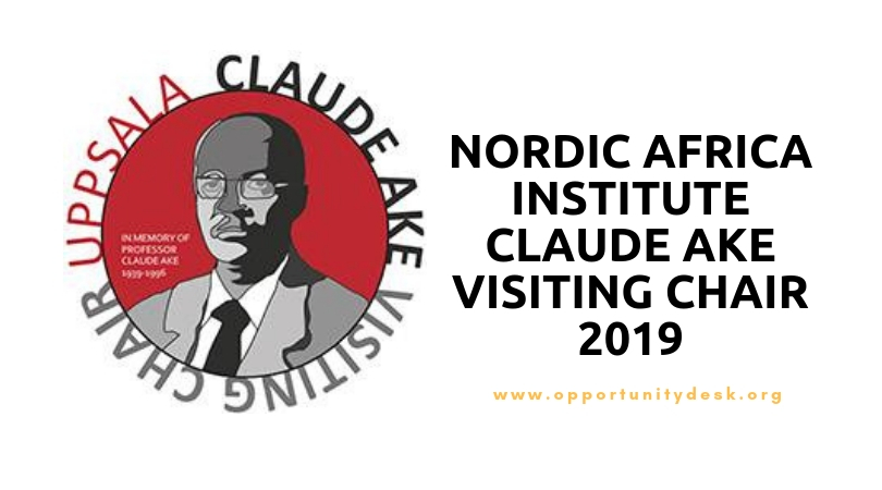 Nordic Africa Institute Claude Ake Visiting Chair 2019 (Up to 25,000 SEK monthly)