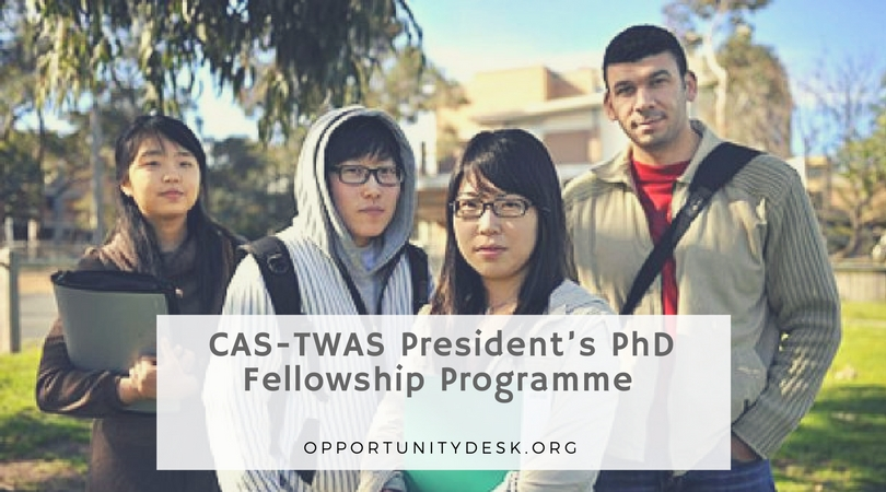 CAS-TWAS President's PhD Fellowship Program 2019 (Study in China