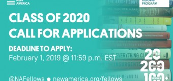 New America National Fellows Program – Class of 2020 (Stipend available)