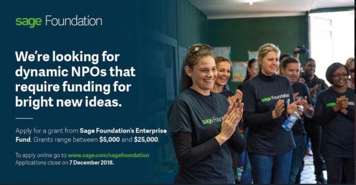 Sage Foundation Enterprise Fund for Non-profits 2019 (Up to $25,000)