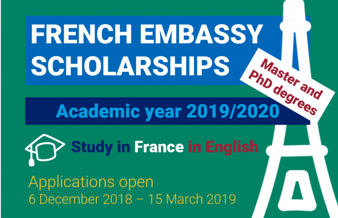 Embassy of France in South Africa PhD Scholarship Grants 2019-2020 (Funded to France)
