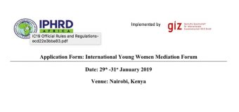 Apply to attend International Young Women Mediation Forum 2019 (Fully-funded to Nairobi, Kenya)
