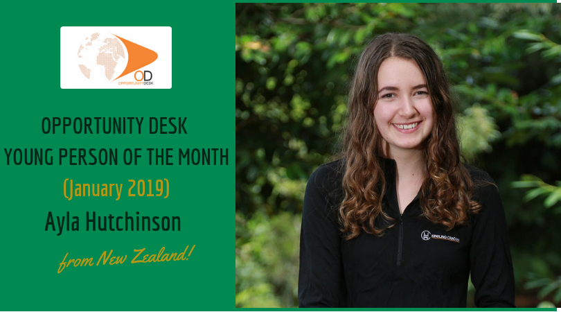 Ayla Hutchinson from New Zealand is OD Young Person of the Month for January 2019!