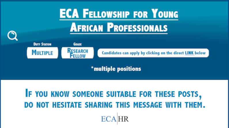 United Nations Economic Commission for Africa (ECA HR) Fellowship for Young African Professionals 2019 (Fully-funded)