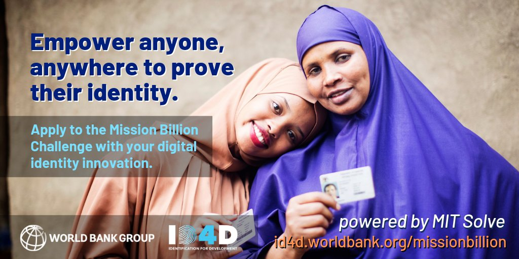 WorldBank Group ID4D Mission Billion Challenge 2019 (Up to $100k in prizes)