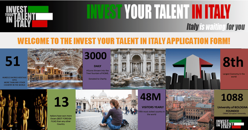 Invest Your Talent in Italy Scholarship Program 2019