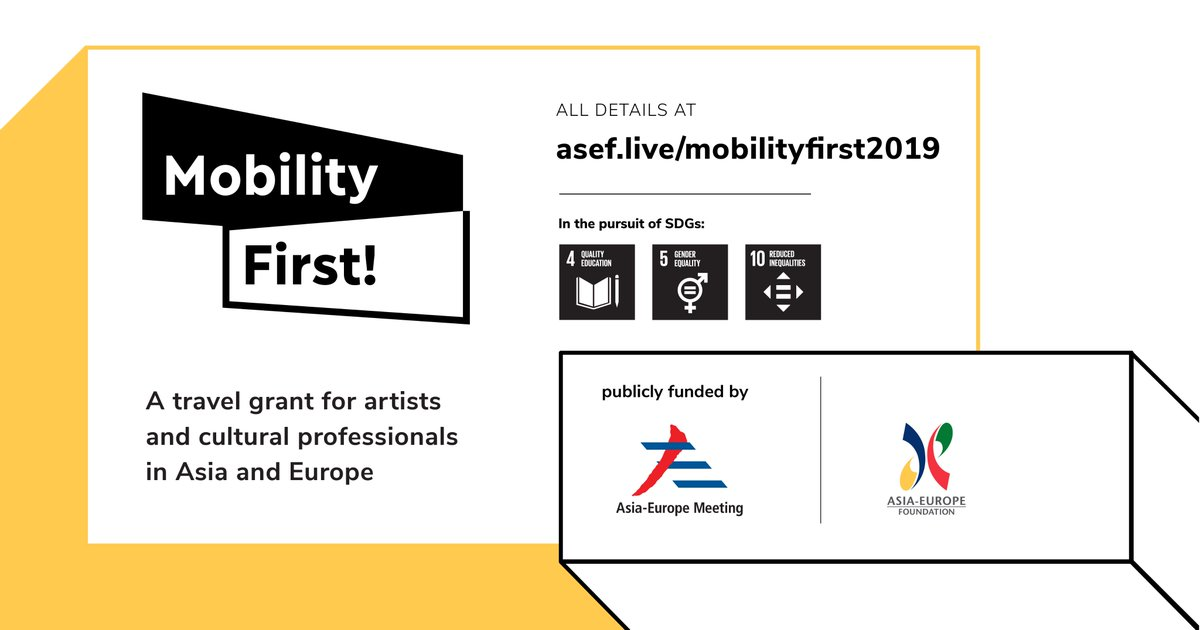 ASEF Mobility First Travel Grant 2019 for Artists & Cultural Professionals