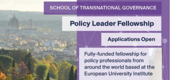 Policy Leader Fellowship of the School of Transnational Governance at EUI 2020 for Policy Professionals (fully-funded)