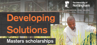 University of Nottingham Developing Solutions Masters Scholarship 2019