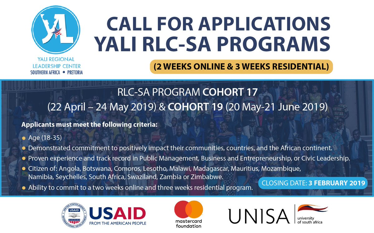 YALI Regional Leadership Centre Southern Africa 2019: Cohort 17 and 19 (Fully-funded)