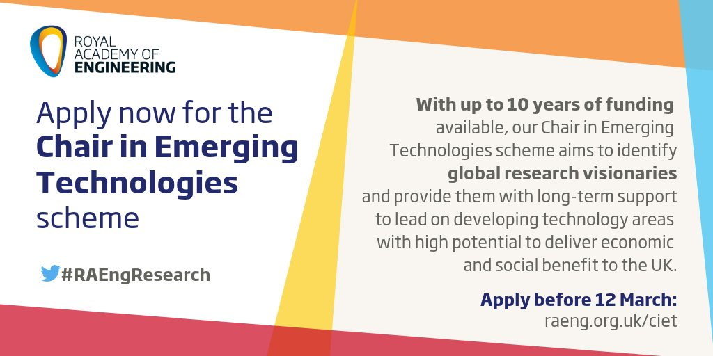 Royal Academy of Engineering Chair in Emerging Technologies 2019 (Value of £2,780,000)