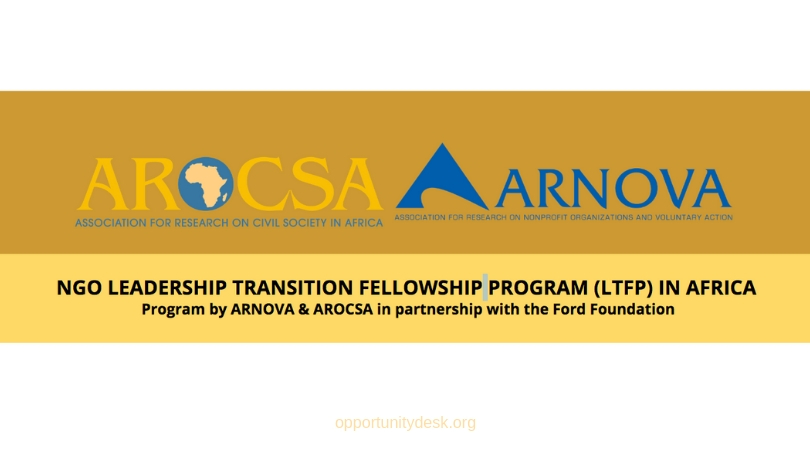 ARNOVA/ARCOSA NGO Leadership Transition Fellowship Program (LTFP) in Africa 2020 (Fully-funded to the US)