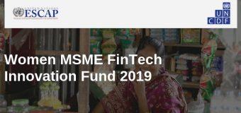 UNCDF/UNESCAP Women MSME FinTech Innovation Fund 2019