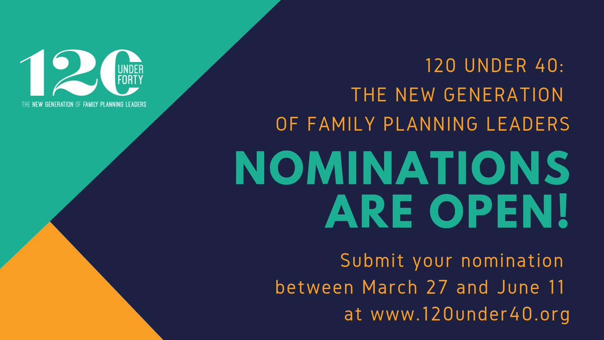 Nominate Young Champions for 120 Under 40: The New Generation of Family Planning Leaders 2019 ($1,000 prize)