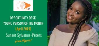 Sunset Sylvanus-Peters from Nigeria is OD Young Person of the Month for April 2019!