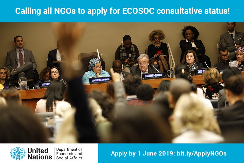 Calling all NGOs to apply for United Nations ECOSOC Consultative Status 2019