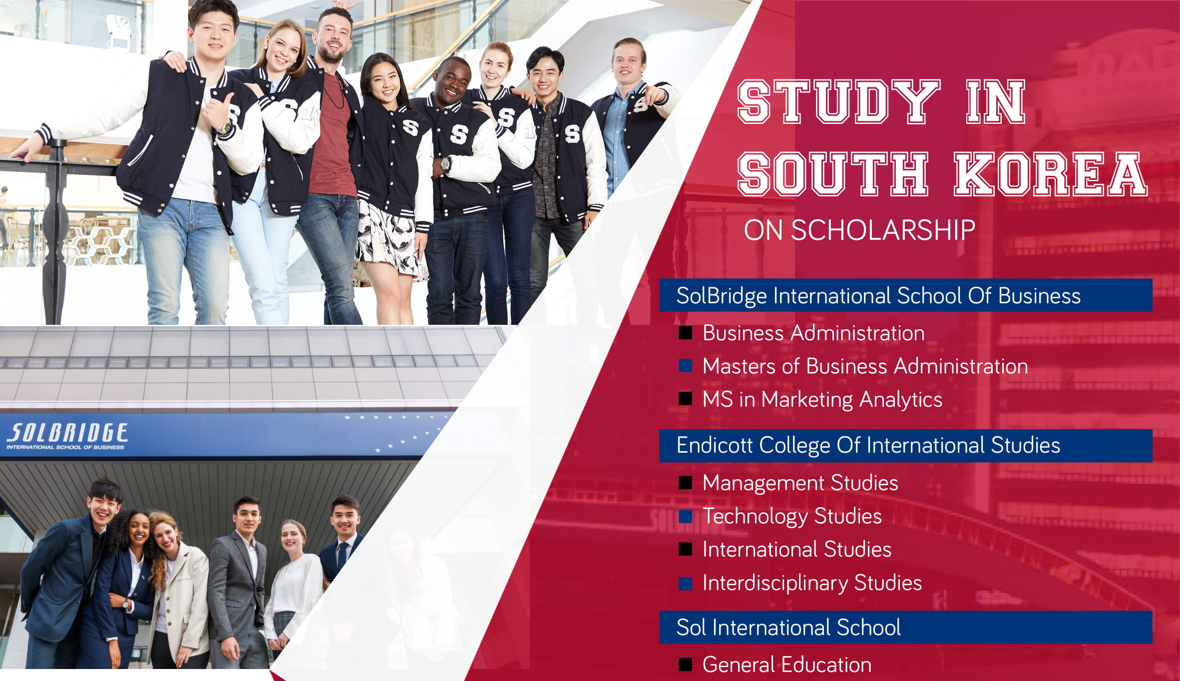Study in South Korea on Partial Scholarship –  September 2019 for Bachelors and Postgraduate Degrees