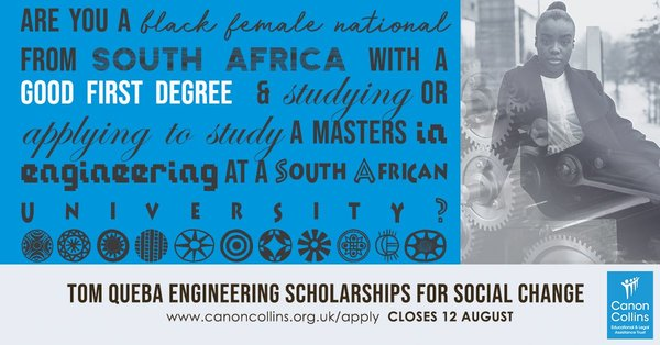 Canon Collins Tom Queba Engineering Scholarships for Social Change 2019/2020 for Female South Africans