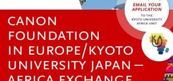 Canon Foundation-Kyoto University Japan-Africa Exchange Program 2019 (Funding available)