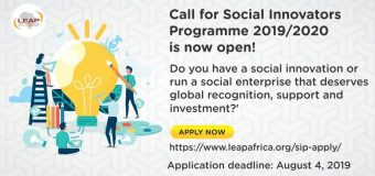 LEAP Africa Social Innovators Programme and Awards 2019/2020 for Social Entrepreneurs