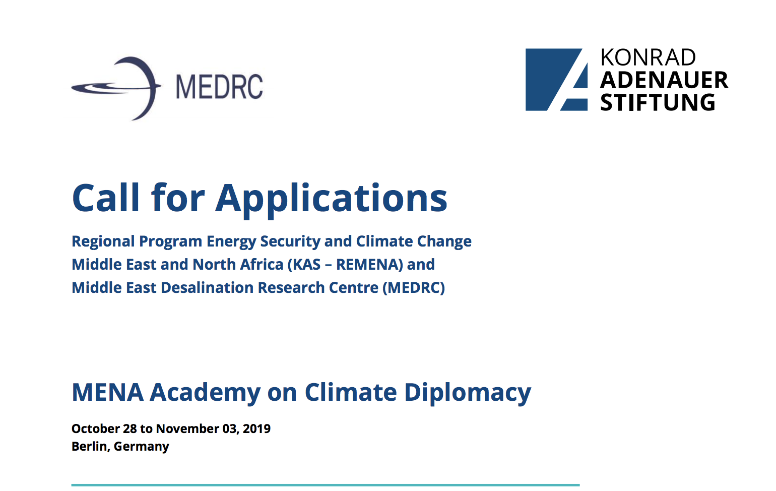 MENA Academy on Climate Diplomacy 2019 (Fully-funded to Berlin, Germany)