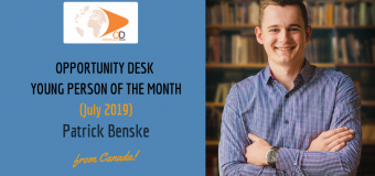 Patrick Benske from Canada is OD Young Person of the Month for July 2019!