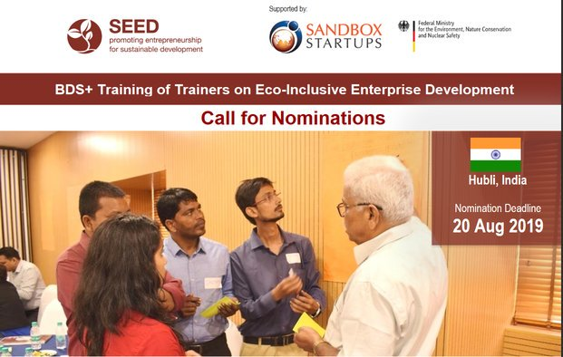 SEED BDS+ Training of Trainers on Eco-Inclusive Enterprise Development 2019 in Hubli, India