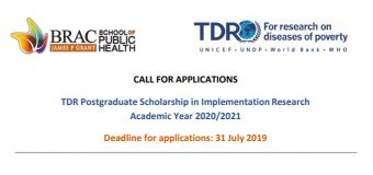 TDR Postgraduate Scholarship in Implementation Research 2020/2021 (Fully-funded)