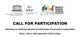UNESCO Workshop for Defining Indicators of Information Preservation Sustainability 2019 (Funding available)