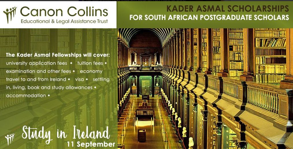 Canon Collins Kader Asmal Scholarship 2020 for Postgraduate Study in Ireland (Fully-funded)