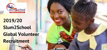 Slum2School Call for Global Volunteers 2019/20