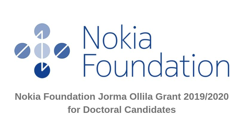 Nokia Foundation Jorma Ollila Grant 2019/2020 for Recent PhD Graduates (Up to €20,000)