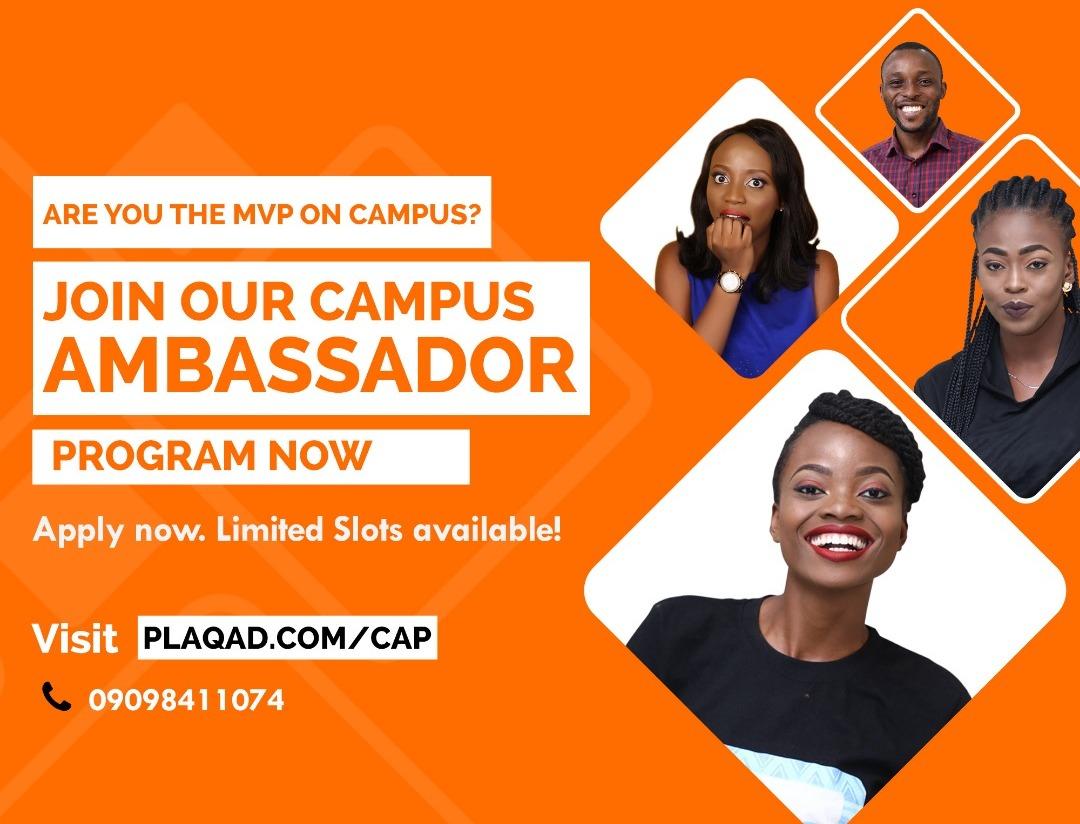 Plaqad Campus Ambassador Program 2019 for Nigerian Undergraduate students (up to N150,000)