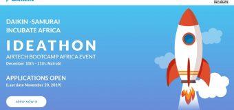 Daikin-Samurai Incubate Africa Ideathon 2019 for Startups (up to $150,000 funding)