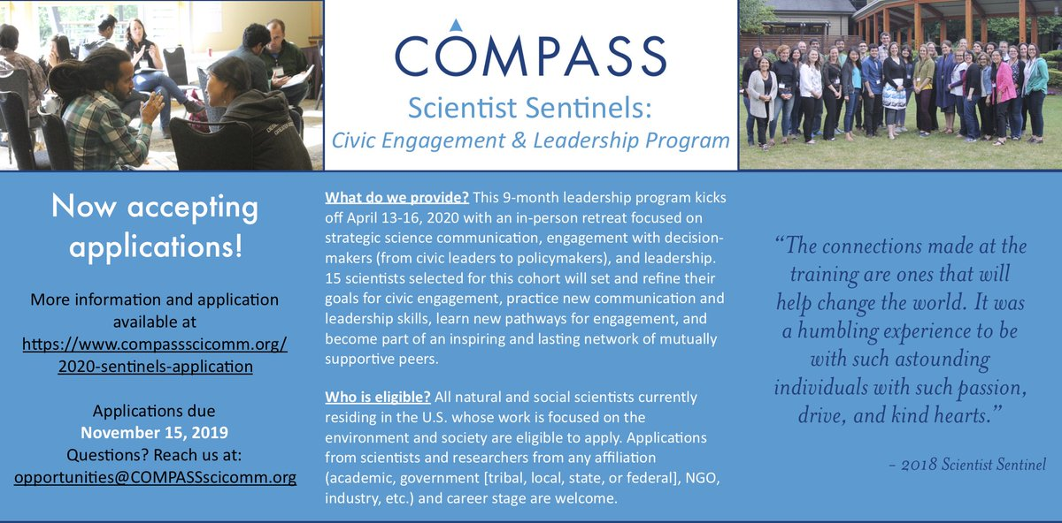 COMPASS Scientist Sentinels: Civic Engagement and Leadership Program 2020