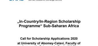 DAAD In-Country/In-Region Scholarship Programme 2020 at University of Abomey-Calavi