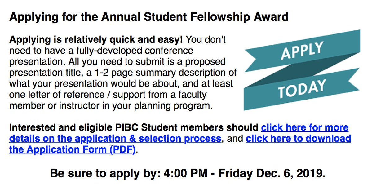 PIBC Annual Student Fellowship Award 2020 for Canada Residents