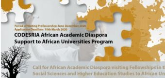 CODESRIA African Academic Diaspora Visiting Fellowships 2020 (Funding available)