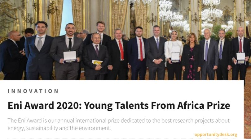 Eni Award 2020: Young Talents From Africa Prize
