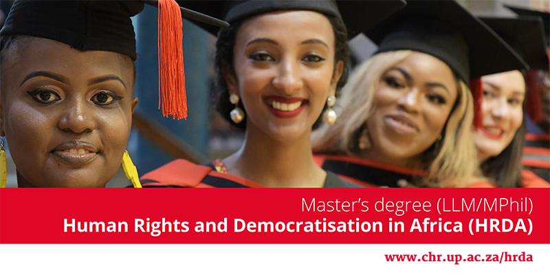 Scholarships for LLM/MPhil in Human Rights and Democratisation in Africa 2021 at the Centre for Human Rights