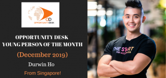Durwin Ho from Singapore is OD Young Person of the Month for December 2019!