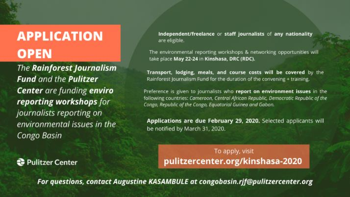 Pulitzer Center/Rainforest Journalism Fund Congo Basin 2020 Convening for Journalists (Fully-funded)