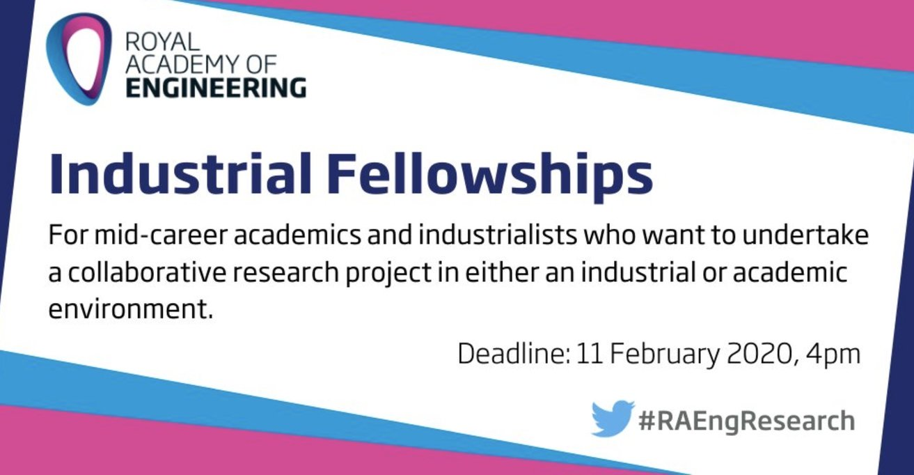 Royal Academy of Engineering Industrial Fellowships 2020/2021 for Mid-career Academics and Industrialists in the UK (Up to £50,000)