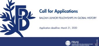 Call for Applications: Balzan Junior Fellowships in Global History 2020/2021 (Funded)