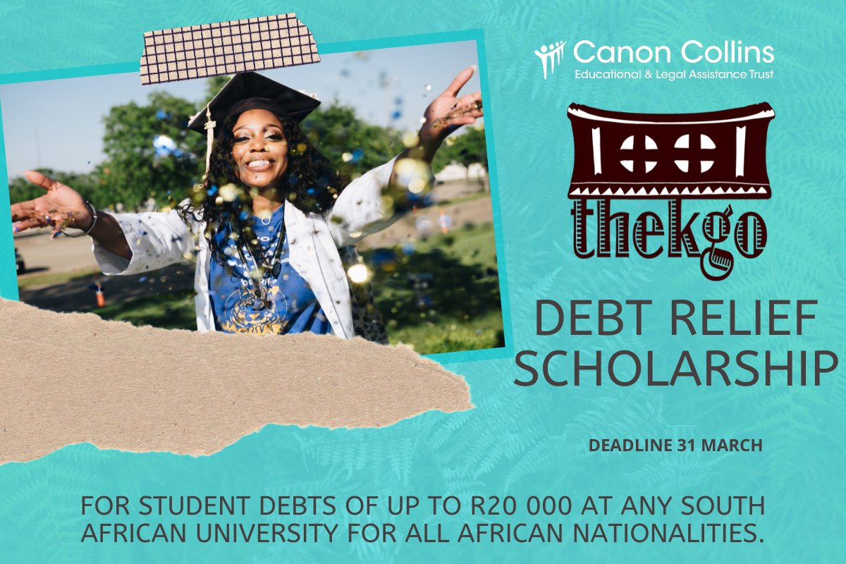 Canon Collins Thekgo Debt Relief Scholarship 2020 for African Students (up to R20,000)
