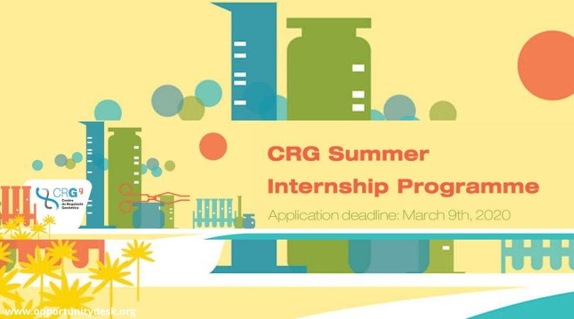 Center for Genomic Regulation (CRG) Summer Internship Program 2020 for Undergraduate and Masters Students (Paid)