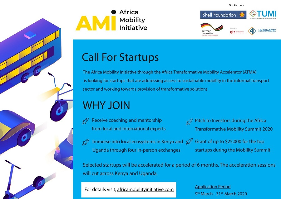 AMI Africa Transformative Mobility Accelerator 2020 for Startups in Kenya and Uganda (up to $25,000)