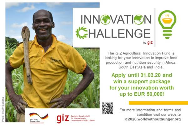 GiZ Agricultural Innovation Fund Challenge 2020 for Startups in Africa and South East Asia (Up to EUR 50,000)